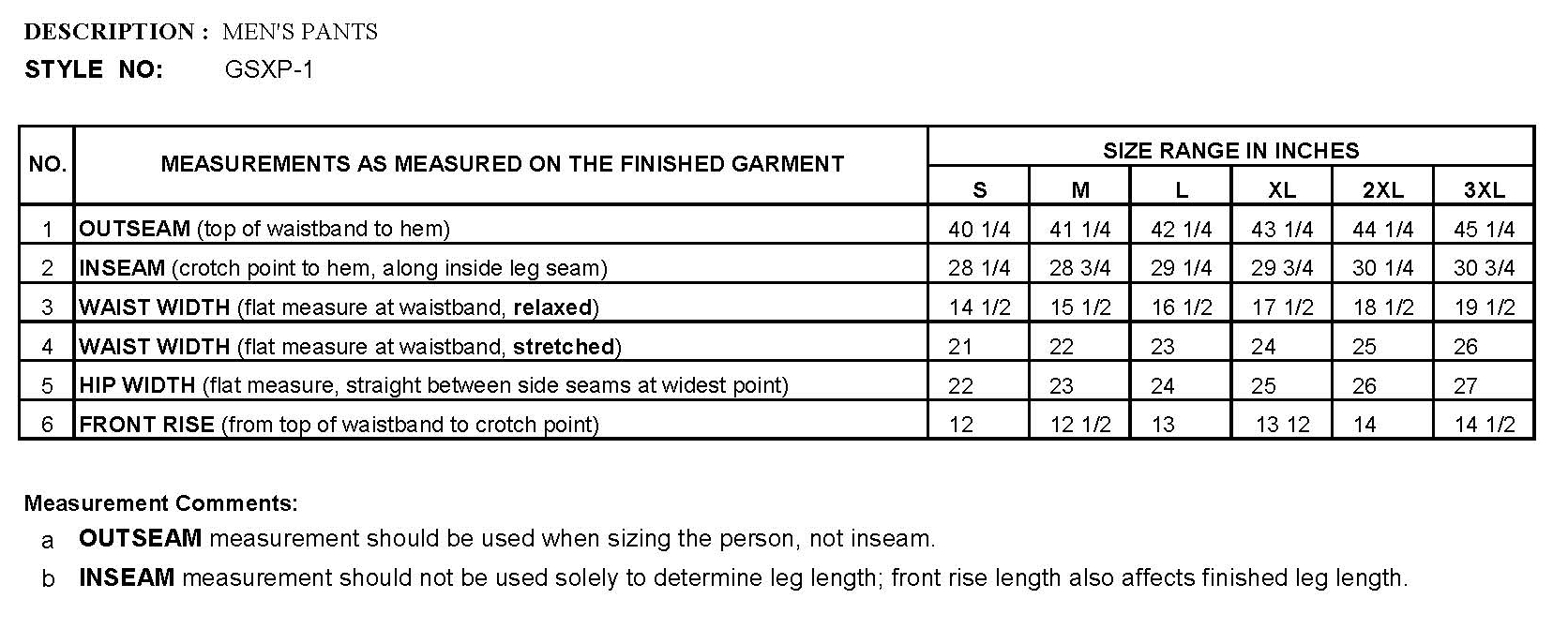 Mens Pants Sizing