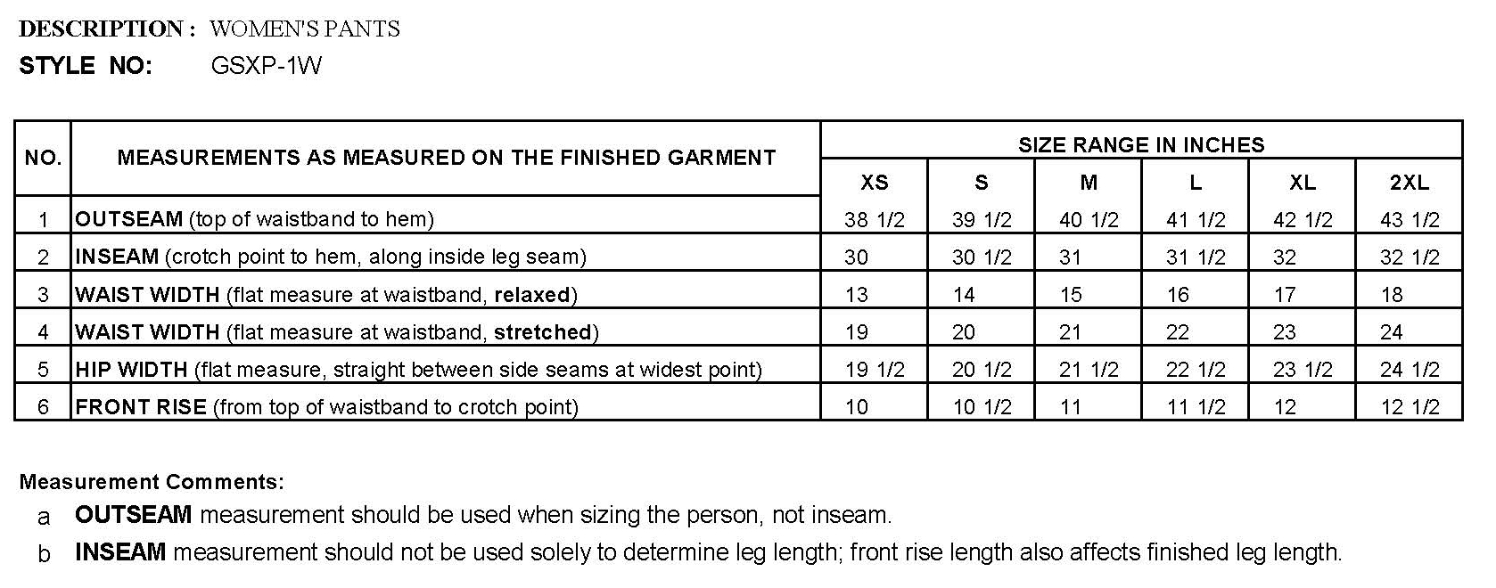Womens Pant Sizing